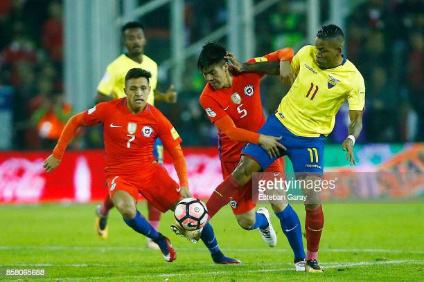 Francisco Silva of Chile fights for the ball with Michael Arroyo of Ecuador during a match between Chile and Ecuador as part of FIFA 2018 World Cup...