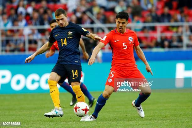 Francisco Silva of Chile in action against James Troisi of Australia during the Confederations Cup 2017 match between Chile and Australia at Spartak...