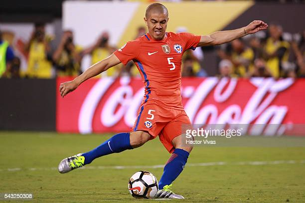 Francisco Silva of Chile takes a penalty shot during the championship match between Argentina and Chile at MetLife Stadium as part of Copa America...