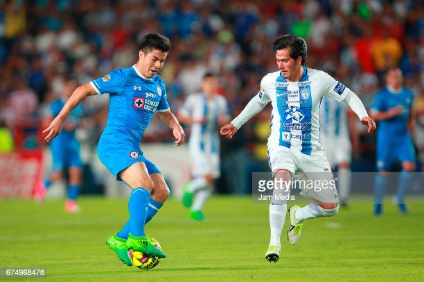 Francisco Silva of Cruz Azul and Jorge Hernandez of Pachuca fight for the ball during a match between Pachuca and Cruz Azul as part of the the...