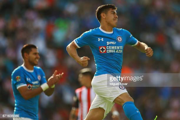 Francisco Silva of Cruz Azul celebrates after scoring his team's first goal during the 15th round match between Cruz Azul and Chivas as part of the...