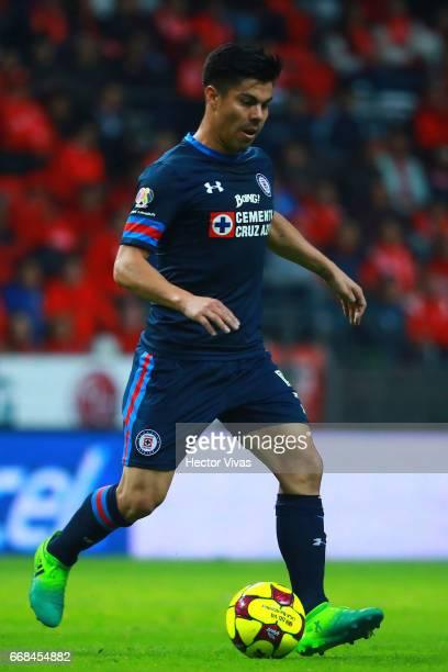 Francisco Silva of Cruz Azul drives the ball during the 10th round match between Toluca and Cruz Azul as part of the Torneo Clausura 2017 Liga MX at...