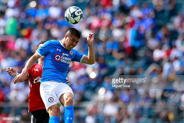 Francisco Silva of Cruz Azul heads the ball during the 4th round match between Cruz Azul and Tijuana as part of the Torneo Apertura 2016 Liga MX at...