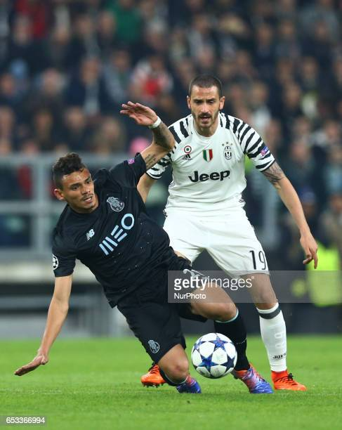 Francisco Soares of Porto and Leonardo Bonucci of Juventus during the UEFA Champions League Round of 16 second leg match between Juventus and FC...