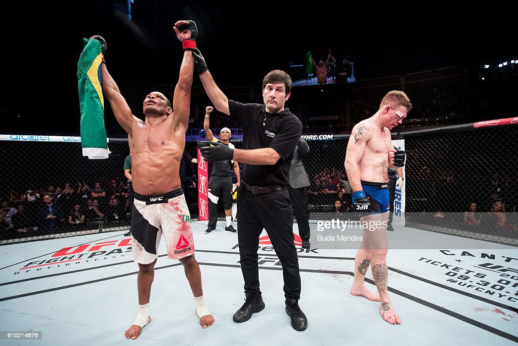Francisco Trinaldo of Brazil celebrates victory over Paul Felder of the United States in their lightweigh UFC bout during the UFC Fight Night event at Nilson Nelson gymnasium on September 24, 2016 in Brasilia, Brazil.