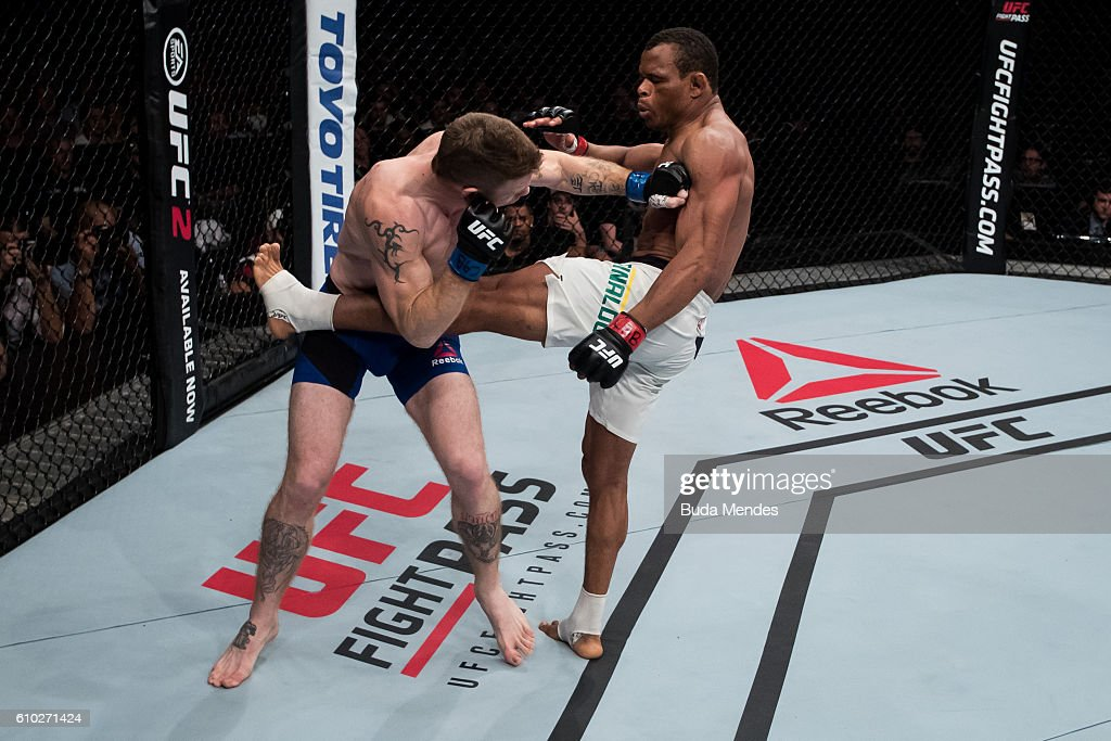 Francisco Trinaldo of Brazil kicks Paul Felder of the United States in their lightweigh UFC bout during tthe UFC Fight Night event at Nilson Nelson gymnasium on September 24, 2016 in Brasilia, Brazil.