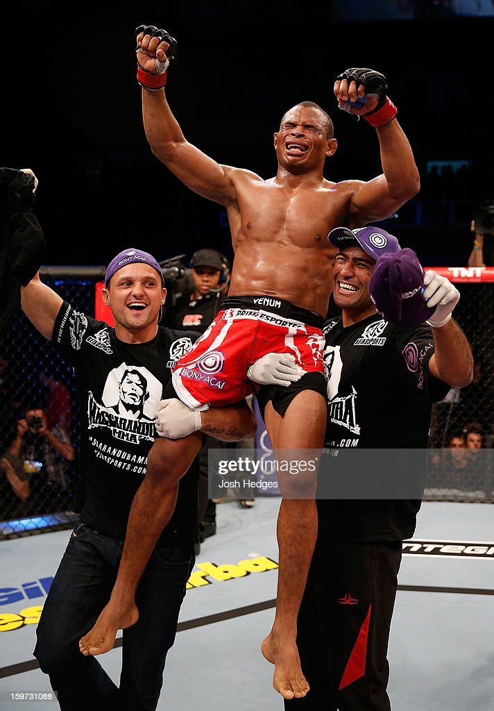 Francisco Trinaldo reacts after defeating C.J. Keith in their lightweight fight at the UFC on FX event on January 19, 2013 at Ibirapuera Gymnasium in Sao Paulo, Brazil.