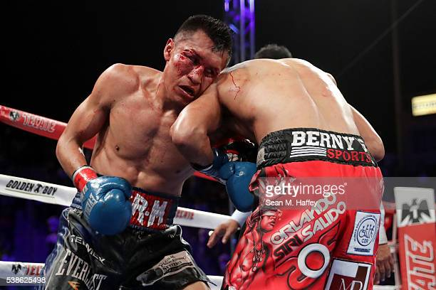 Francisco Vargas clutches Orlando Salido during their WBC super featherweight championship bout at StubHub Center on June 4 2016 in Carson California