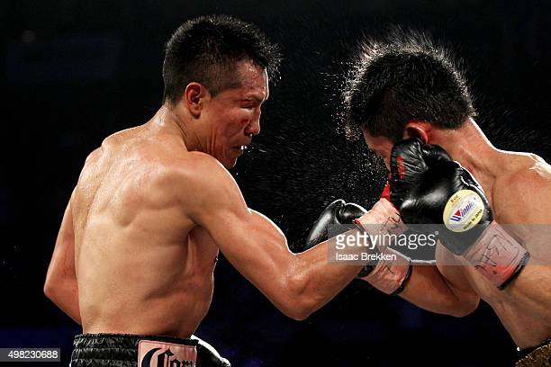 Francisco Vargas connects with a right to the face of Takashi Miura in their WBC super featherweight title fight at the Mandalay Bay Events Center on...