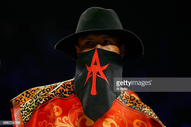 Francisco Vargas in the ring before taking on Takashi Miura during their WBC super featherweight title fight at the Mandalay Bay Events Center on...