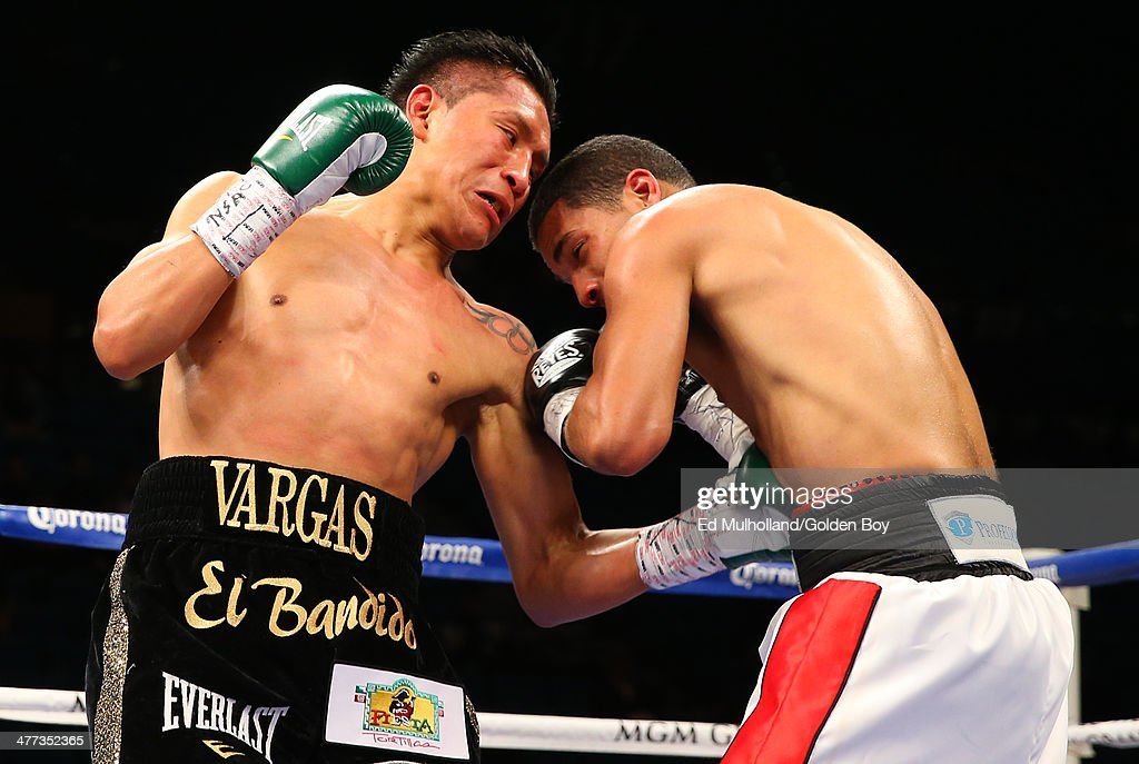 Francisco Vargas lands a left hand to the body of Abner Cotto during their 10 round junior lightweight fight at the MGM Grand Garden Arena on March 8...