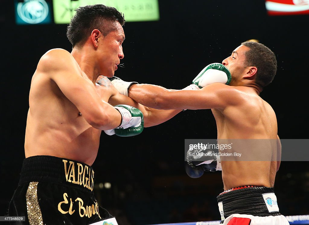 Francisco Vargas lands a left hand to the head of Abner Cotto during their 10 round junior lightweight fight at the MGM Grand Garden Arena on March 8...