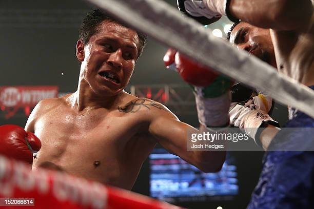 Francisco Vargas lands a left to the head of Victor Sanchez during their junior lightweight fight at MGM Grand Garden Arena on September 15 2012 in...