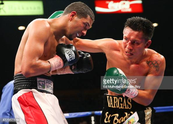 Francisco Vargas lands a right hand to the head of Abner Cotto during their 10 round junior lightweight fight at the MGM Grand Garden Arena on March...