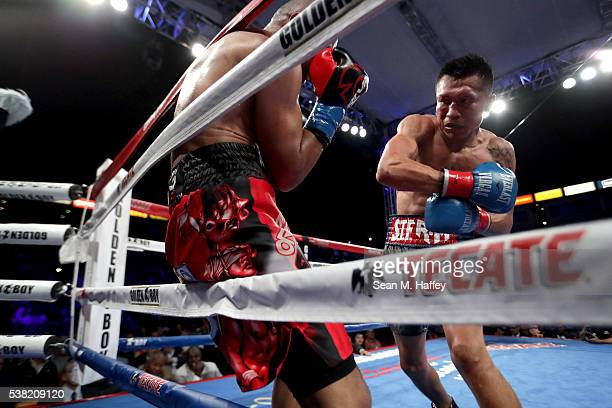 Francisco Vargas lands a right to Orlando Salido during their WBC super featherweight championship bout at StubHub Center on June 4 2016 in Carson...