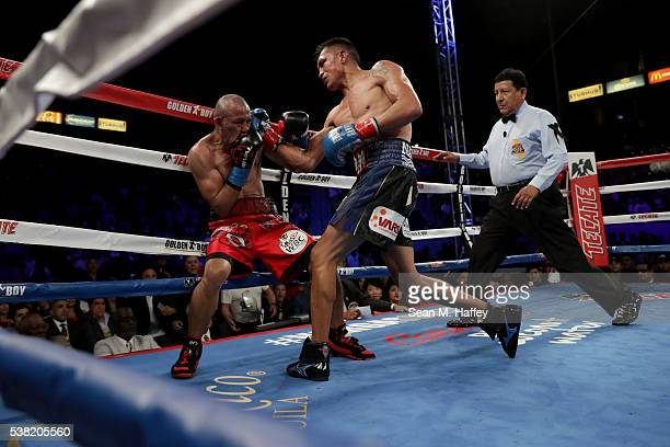Francisco Vargas lands a right to the head of Orlando Salido during their WBC super featherweight championship bout at StubHub Center on June 4 2016...