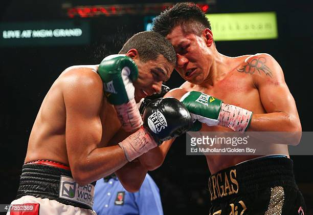 Francisco Vargas lands a right uppercut to the head of Abner Cotto during their 10 round junior lightweight fight at the MGM Grand Garden Arena on...