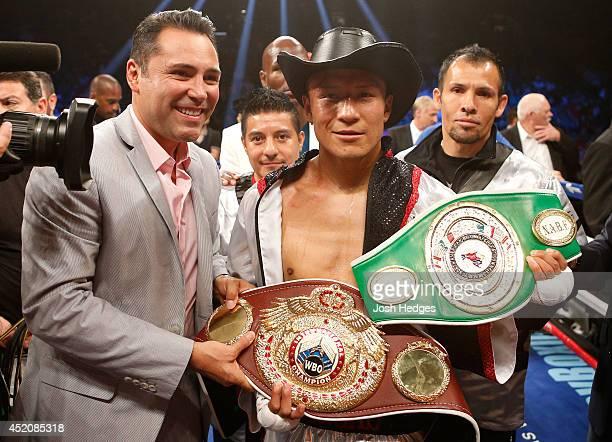 Francisco Vargas poses with President of Golden Boy Promotions Oscar De La Hoya after his TKO victory over Juan Manuel Lopez during their super...