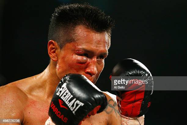 Francisco Vargas takes on Takashi Miura in their WBC super featherweight title fight at the Mandalay Bay Events Center on November 21 2015 in Las...