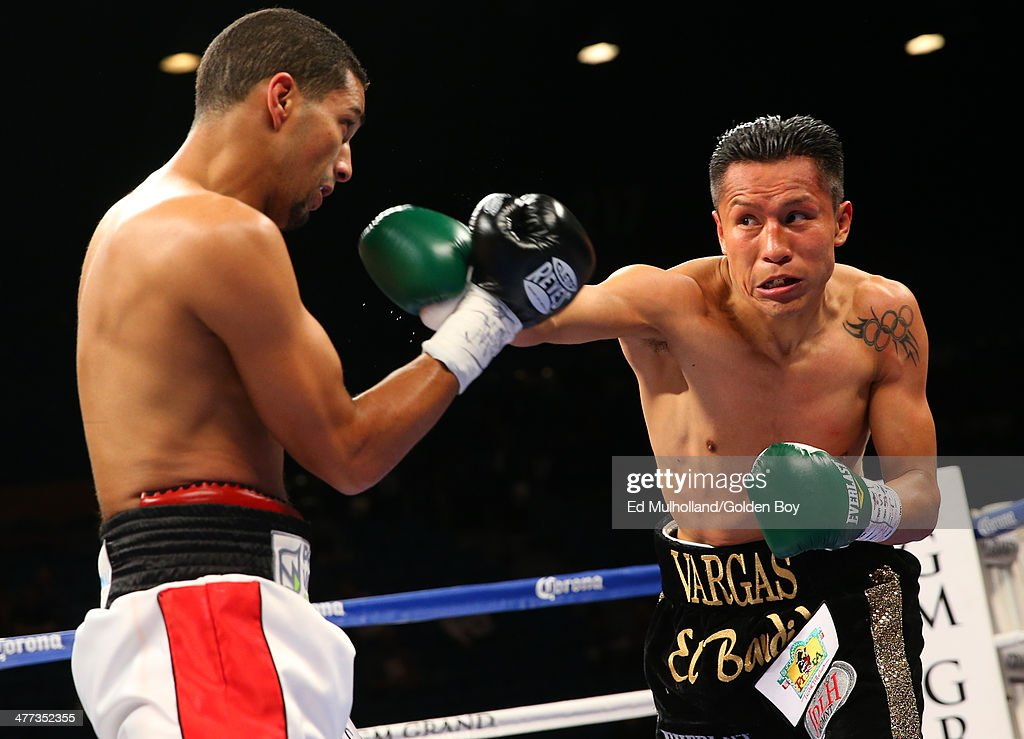 Francisco Vargas throws a right hand to the head of Abner Cotto during their 10 round junior lightweight fight at the MGM Grand Garden Arena on March...