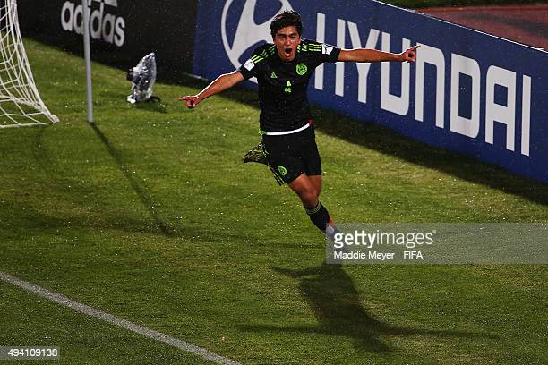 Francisco Venegas of Mexico celebrates after scoring a goal during the FIFA U17 World Cup Chile 2015 Group C match between Germany and Mexico at...