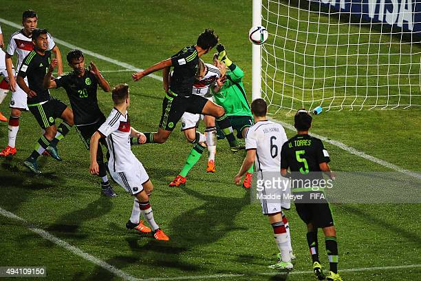 Francisco Venegas of Mexico scores a goal during the FIFA U17 World Cup Chile 2015 Group C match between Germany and Mexico at Estadio Fiscal on...