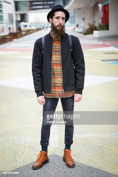 Francisco wears PullBear boots Zara jacket and bag and Bershka trousers during Mercedes Benz Madrid Fashion Week Fall/Winter 2015/16 at Ifema on...