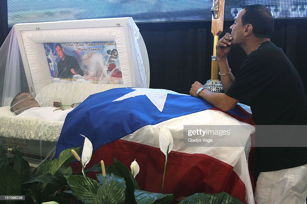 Francisco weeps for his late brother Hector 'Macho' Camacho in a public memorial service at Department of Sports and Recreation on November 28, 2012 in San Juan, Puerto Rico. Camacho died after being removed from life support following a November 20, 2012 shooting in Bayamon, Puerto Rico.