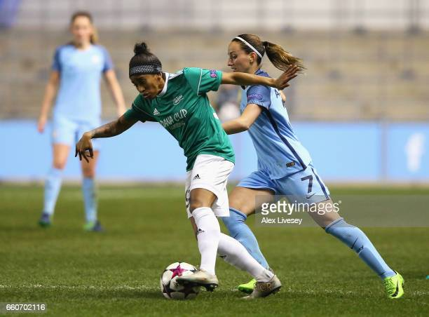 Francisleide Dos Santos Barbosa of Fortuna is closed down by Kosovare Asllani of Manchester City during the UEFA Women's Champions League Quarter...