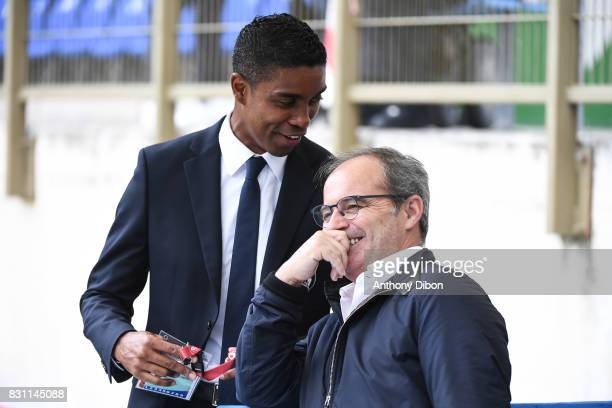 Franck Beria and Luis Campos during the Ligue 1 match between Racing Club Strasbourg and Lille OSC at Stade de la Meinau on August 13 2017 in...