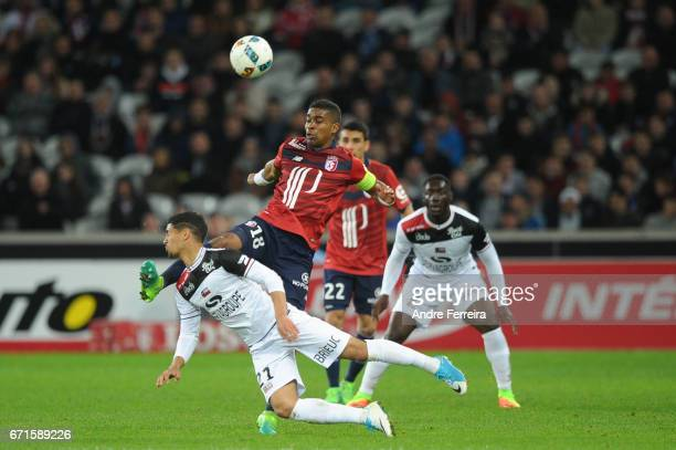 Franck Beria of Lille and Ludovic Blas of Guingamp during the Ligue 1 match between Lille OSC and EA Guingamp at Stade PierreMauroy on April 22 2017...