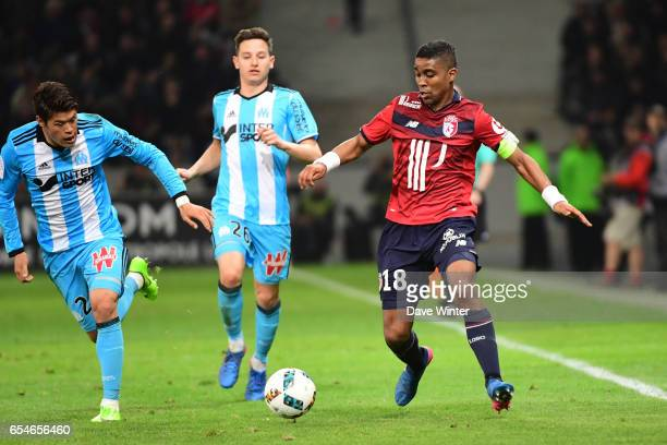 Franck Beria of Lille during the Ligue 1 match between Lille OSC and Olympique de Marseille at Stade Pierre Mauroy on March 17 2017 in Lille France