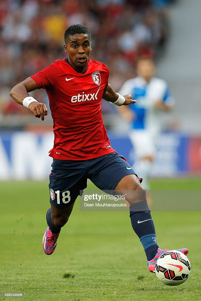 Franck Beria of Lille in action during the UEFA Champions League third qualifying round 2nd leg match between LOSC Lille and Grasshopper Club Zurich at the Stade Pierre-Mauroy on August 5, 2014 in Lille, France.