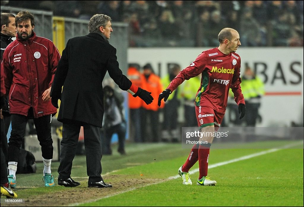 Franck Berrier (SV Zulte Waregem) celebrates with teammates after scoring in action during the Jupiler League match between RSC Anderlecht and SV Zulte Waregem on February 27, 2013 in Anderlecht, Belgium.
