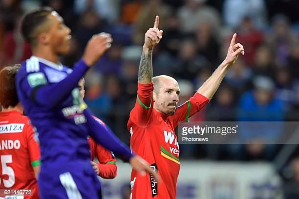 Franck Berrier midfielder of KV Oostende celebrates scoring 01 from penalty during the Jupiler Pro League match between RSC Anderlecht and KV...