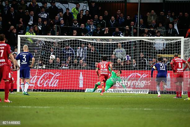 Franck Berrier midfielder of KV Oostende celebrates scoring the equalising goal pictured during the Jupiler Pro League match between RSC Anderlecht...