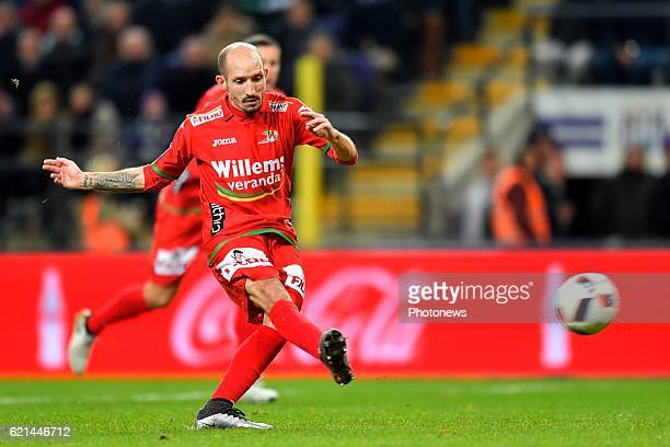Franck Berrier midfielder of KV Oostende scores 01from penalty during the Jupiler Pro League match between RSC Anderlecht and KV Oostende at the...