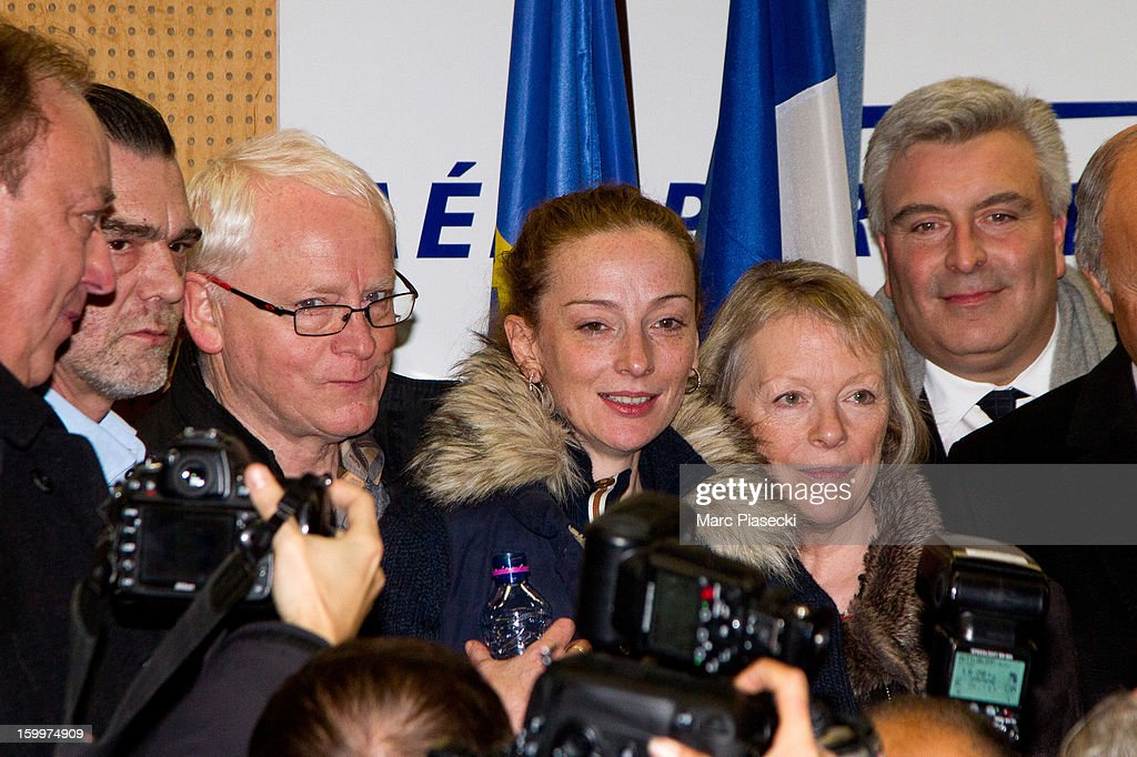 Franck Berton Bernard Cassez Florence Cassez Charlotte Cassez and MarcPhilippe Daubresse attend a Press conference following Florence Cassez's...