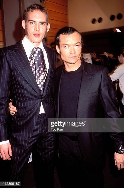 Franck Boclet and a Model of his last Collection during Smalto Men's Autumn Winter 20042005 Collection Fashion Show at Carrousel du Louvre in Paris...