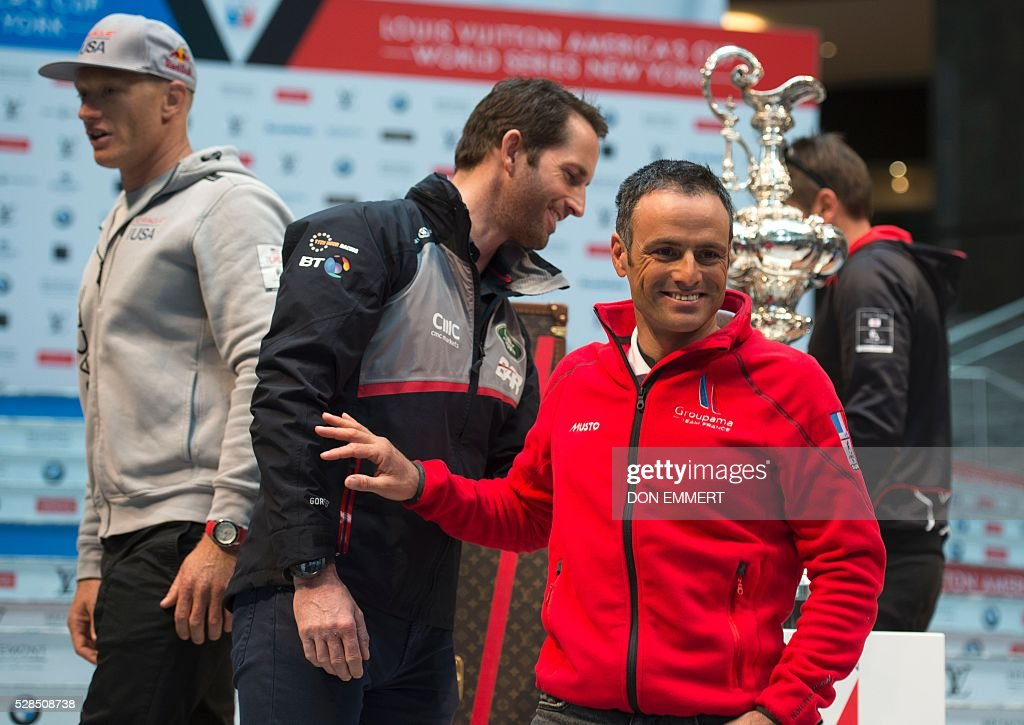 Franck Cammas (R), of Groupama Team France, Ben Ainslee (C), of Land Rover BAR, Jimmy Spithill, of Oracle Team USA, laugh after the Skippers news conference for the Louis Vuitton America's Cup World Series New York on May 5, 2016 in New York. / AFP / DON
