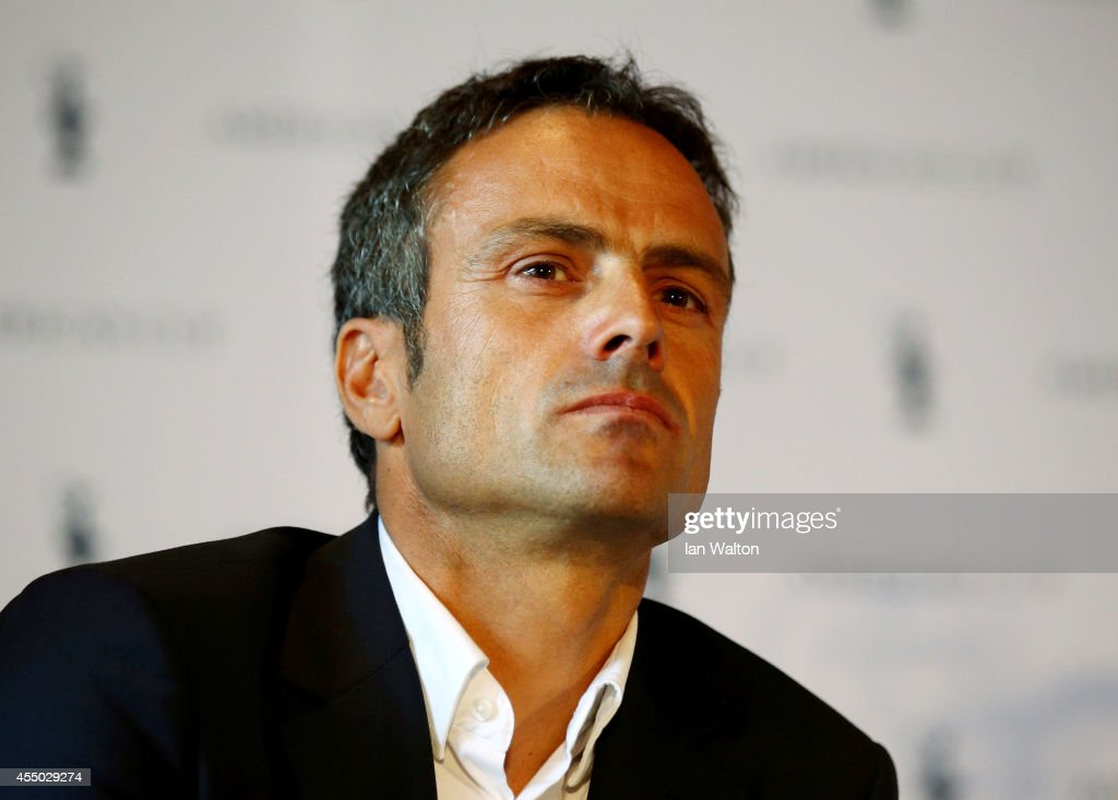 <a gi-track='captionPersonalityLinkClicked' href=/galleries/search?phrase=Franck+Cammas&family=editorial&specificpeople=773410 ng-click='$event.stopPropagation()'>Franck Cammas</a> speaks to the press during the Americas Cup press conference to promote the 35th america's cup at St. Pancras Renaissance hotel on September 9, 2014 in London, England.