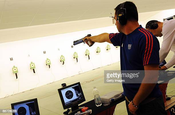 Franck Domoulin of France competes in the men's 10m pistol Medal Final during the XVI Mediterranean Games on June 28 2009 in Pescara Italy