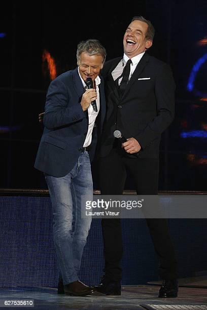 Franck Dubosc and Garou attend 30th Telethon at Hippodrome de Longchamp on December 3 2016 in Paris France