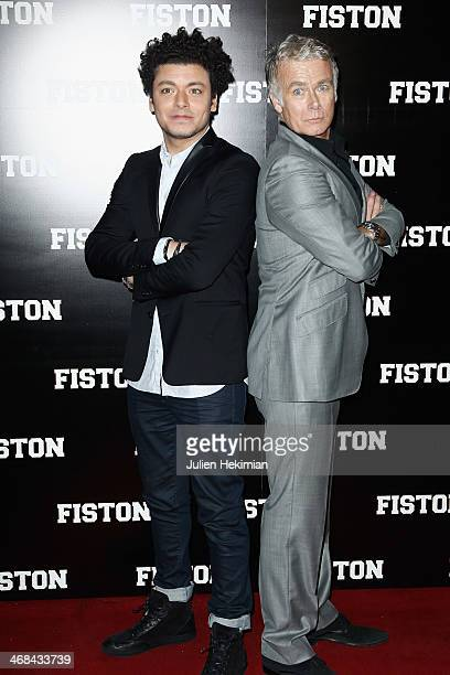 Franck Dubosc and Kev Adams attend 'Fiston' Paris Premiere at Le Grand Rex on February 10 2014 in Paris France