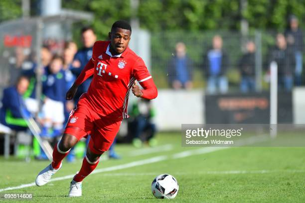 Franck Evina of Bayern Muenchen plays the ball during the B Juniors German Championship Semi Final between Bayern Muenchen and FC Schalke 04 on June...