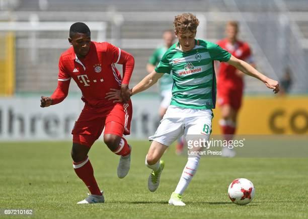 Franck Evina of FC Bayern Muenchen challenges Patrick Osterhage of SV Werder Bremen during the B Juniors German Championship Final between FC Bayern...