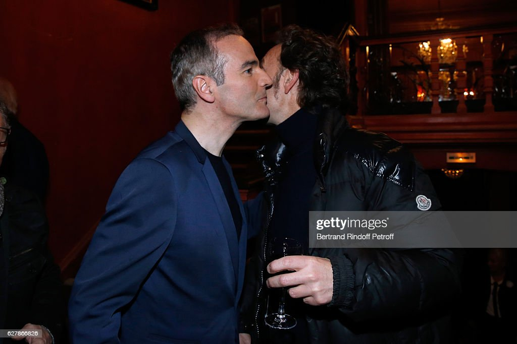 Franck Ferrand and Stephane Bern pose after Franck Ferrand performed in his Show 'Histoires' at Theatre Antoine on December 5, 2016 in Paris, France.