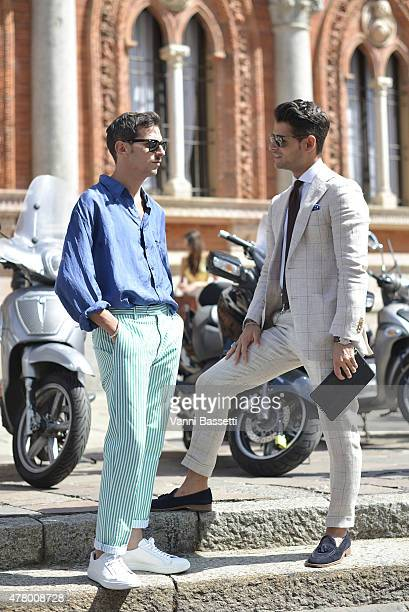 Franck Gallucci and a guest pose before the Missoni show on June 21 2015 in Milan Italy