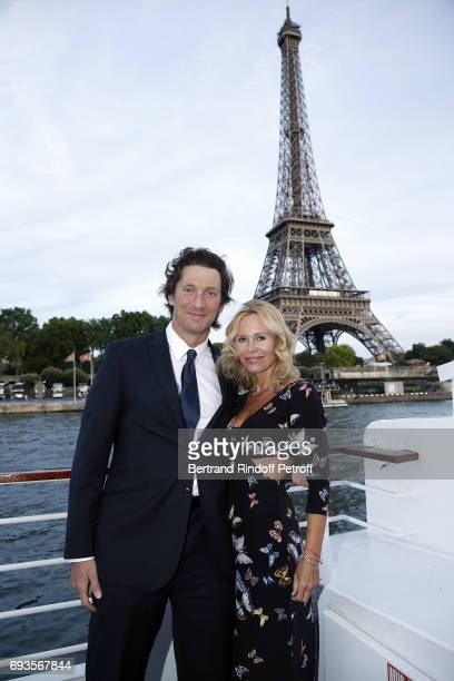 Franck Joffo and Dawn McDaniel attend 'Trophee des Legendes' Dinner at Le Paquebot on June 7 2017 in Paris France