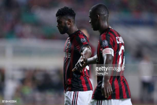Franck Kessie and Cristian Zapata of AC Milan cheer during the 2017 International Champions Cup football match between AC Milan and Borussia Dortmund...